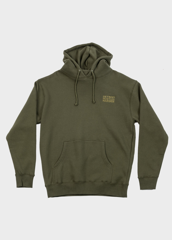 Tonal Embroidered Heavyweight Pullover Hoodie, Sweatshirt, DETROIT HUSTLES HARDER® - DETROIT HUSTLES HARDER®