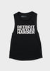 Flowy Scoop Muscle Tank White Print, Tank Top, DETROIT HUSTLES HARDER® - DETROIT HUSTLES HARDER®