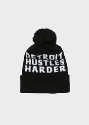 Classic Cuff Pom Beanie, Winter Hat, DETROIT HUSTLES HARDER® - DETROIT HUSTLES HARDER®