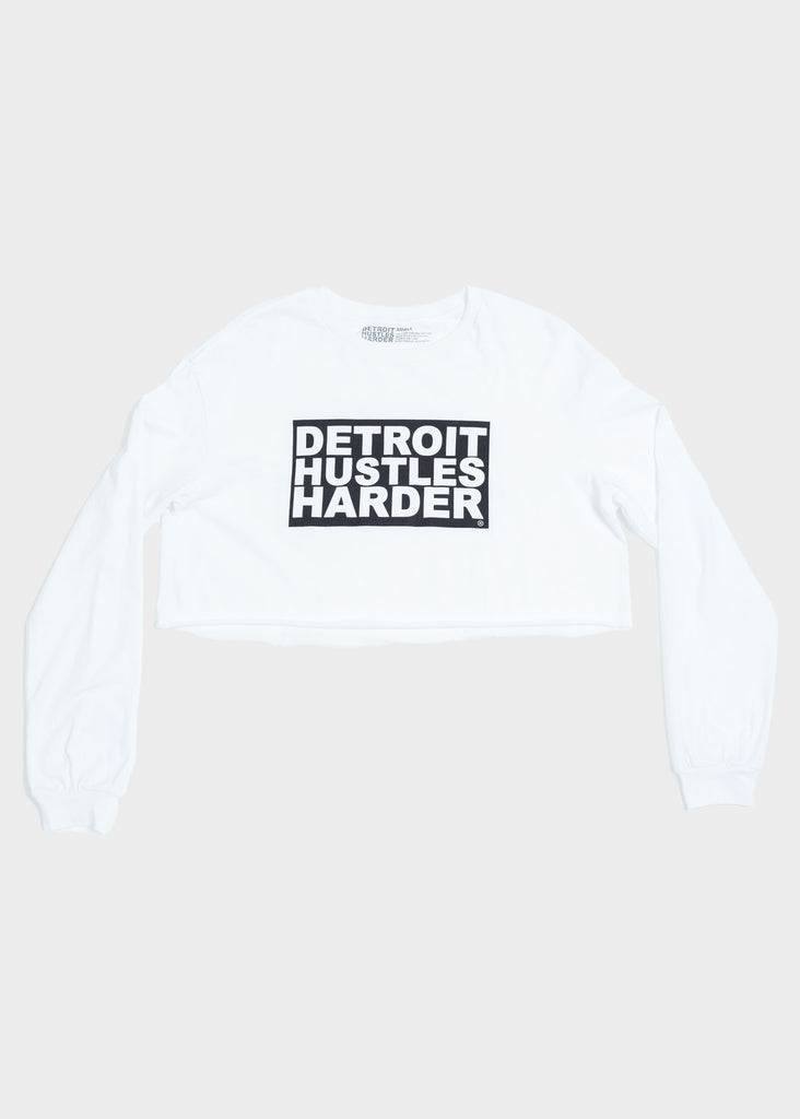 Cropped Long Sleeve T-Shirt Box Logo Print, Long Sleeve, DETROIT HUSTLES HARDER® - DETROIT HUSTLES HARDER®