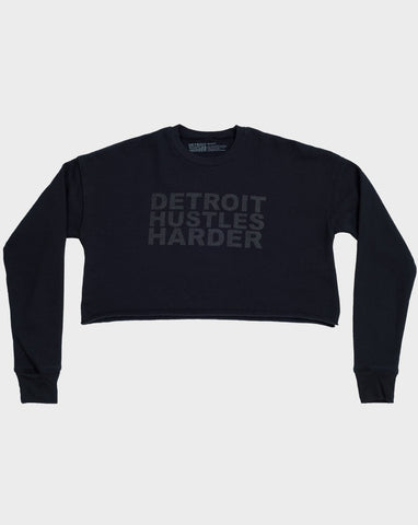 Cropped Crewneck Pullover Black Print, Sweatshirt, DETROIT HUSTLES HARDER® - DETROIT HUSTLES HARDER®