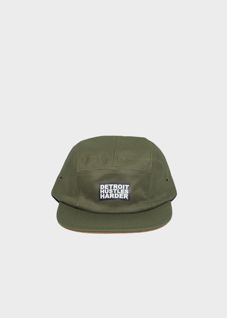 5-Panel Olive Green Hat, Headwear, DETROIT HUSTLES HARDER® - DETROIT HUSTLES HARDER®