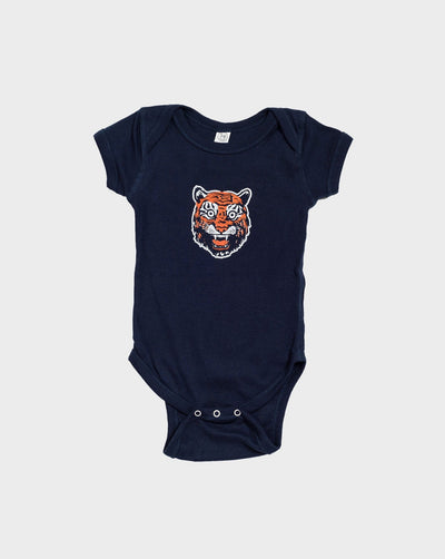 Tiger Face Short Sleeve Onesie, Onesie, DETROIT HUSTLES HARDER® - DETROIT HUSTLES HARDER®
