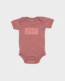 Short Sleeve Onesie Mauve Print, Onesie, DETROIT HUSTLES HARDER® - DETROIT HUSTLES HARDER®