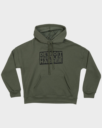 Box Logo Drop Shoulder Fleece Pullover Hoodie, Sweatshirt, DETROIT HUSTLES HARDER® - DETROIT HUSTLES HARDER®