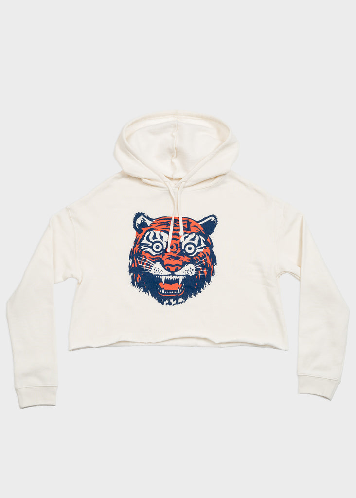 Tiger Face Cropped Fleece Hoodie, Cropped Hoodie, DETROIT HUSTLES HARDER® - DETROIT HUSTLES HARDER®