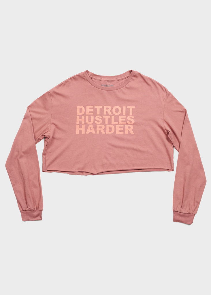 Cropped Long Sleeve T-Shirt Mauve Print, Cropped Long Sleeve Shirt, DETROIT HUSTLES HARDER® - DETROIT HUSTLES HARDER®