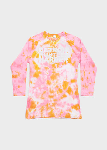 Women's Tie Dye Baseball Tee, Baseball Tee, DETROIT HUSTLES HARDER® - DETROIT HUSTLES HARDER®
