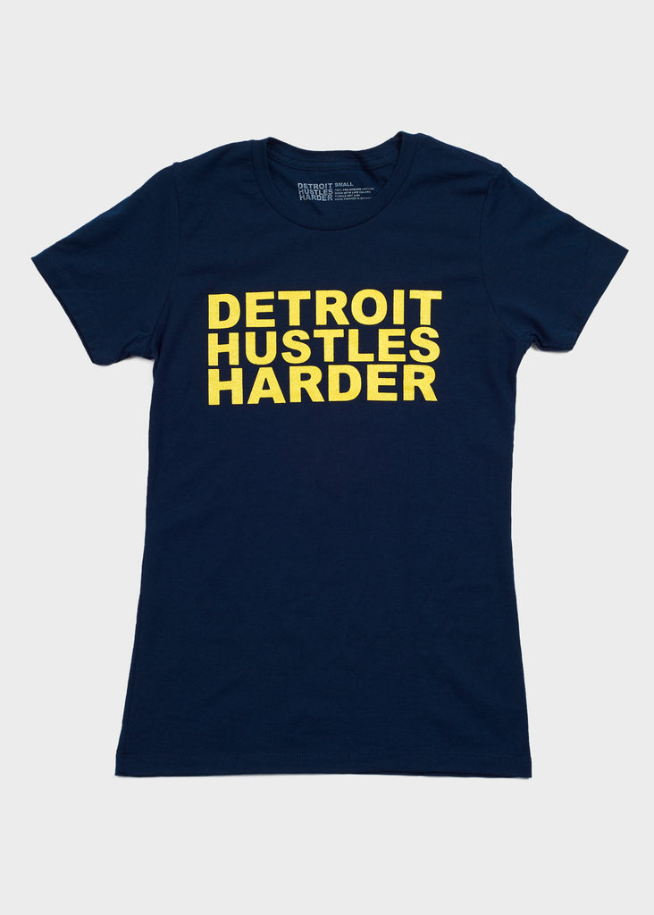 Short Sleeve T-Shirt Navy/Maize Print, T-SHIRT, DETROIT HUSTLES HARDER® - DETROIT HUSTLES HARDER®