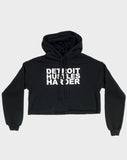 Cropped Fleece Hoodie White Print, Cropped Hoodie, DETROIT HUSTLES HARDER® - DETROIT HUSTLES HARDER®