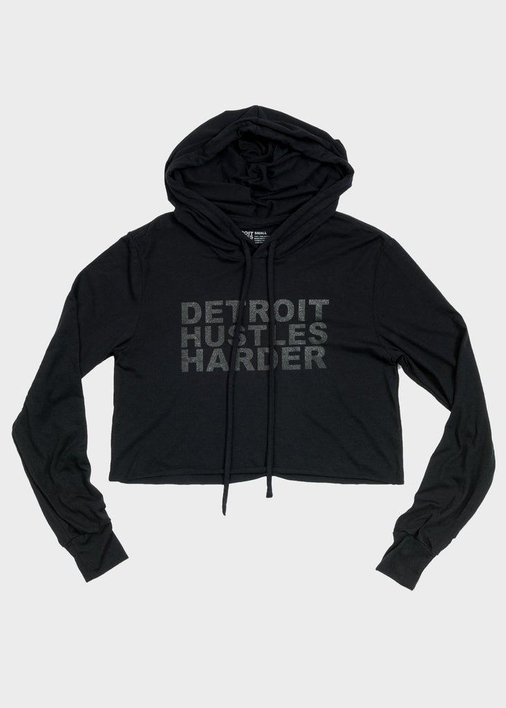 Cropped Tri-Blend Hoodie Black Print, Cropped Hoodie, DETROIT HUSTLES HARDER® - DETROIT HUSTLES HARDER®