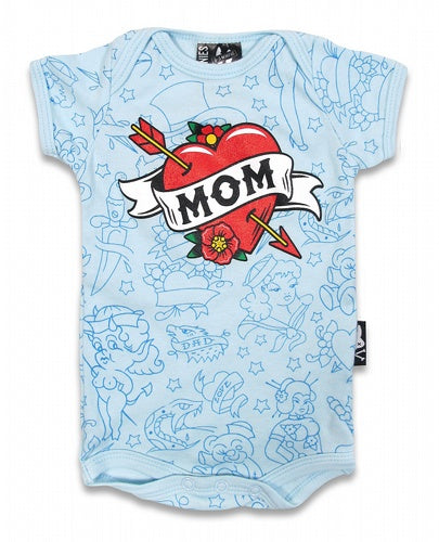 Mom Heart Blue Onesie