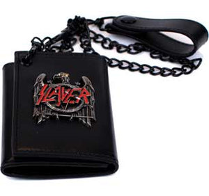 Slayer Black Eagle Metal Badge Trifold Wallet w/chain