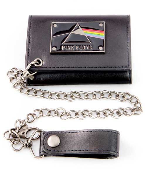 Pink Floyd Metal Badge Trifold Wallet w/chain