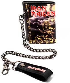 Iron Maiden Red Logo Scene Trifold Wallet w/chain