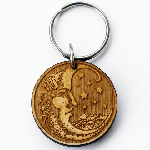 Moon Woodcut Key Chain