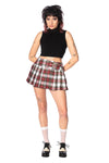White/Red Tartan Mini Skirt
