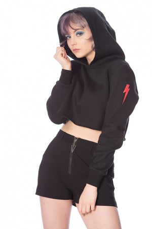 Thunderbolt Cropped Hoodie