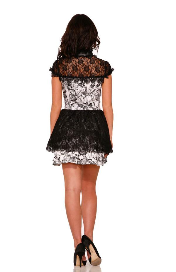 Gothic Mini White Dress with Black Skulls