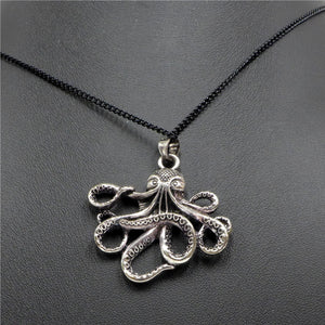 Octopus Silver Flat Necklace