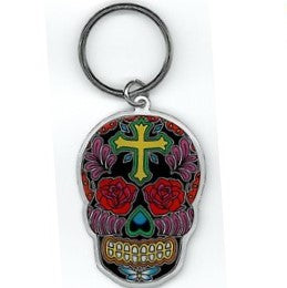 Sugar Skull Cross Key Chain