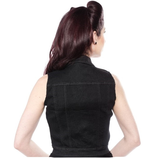 Essential Black Stretch Denim Vest