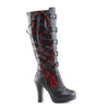 Crypto-106 Blk/Red Knee Hi Corset Boot