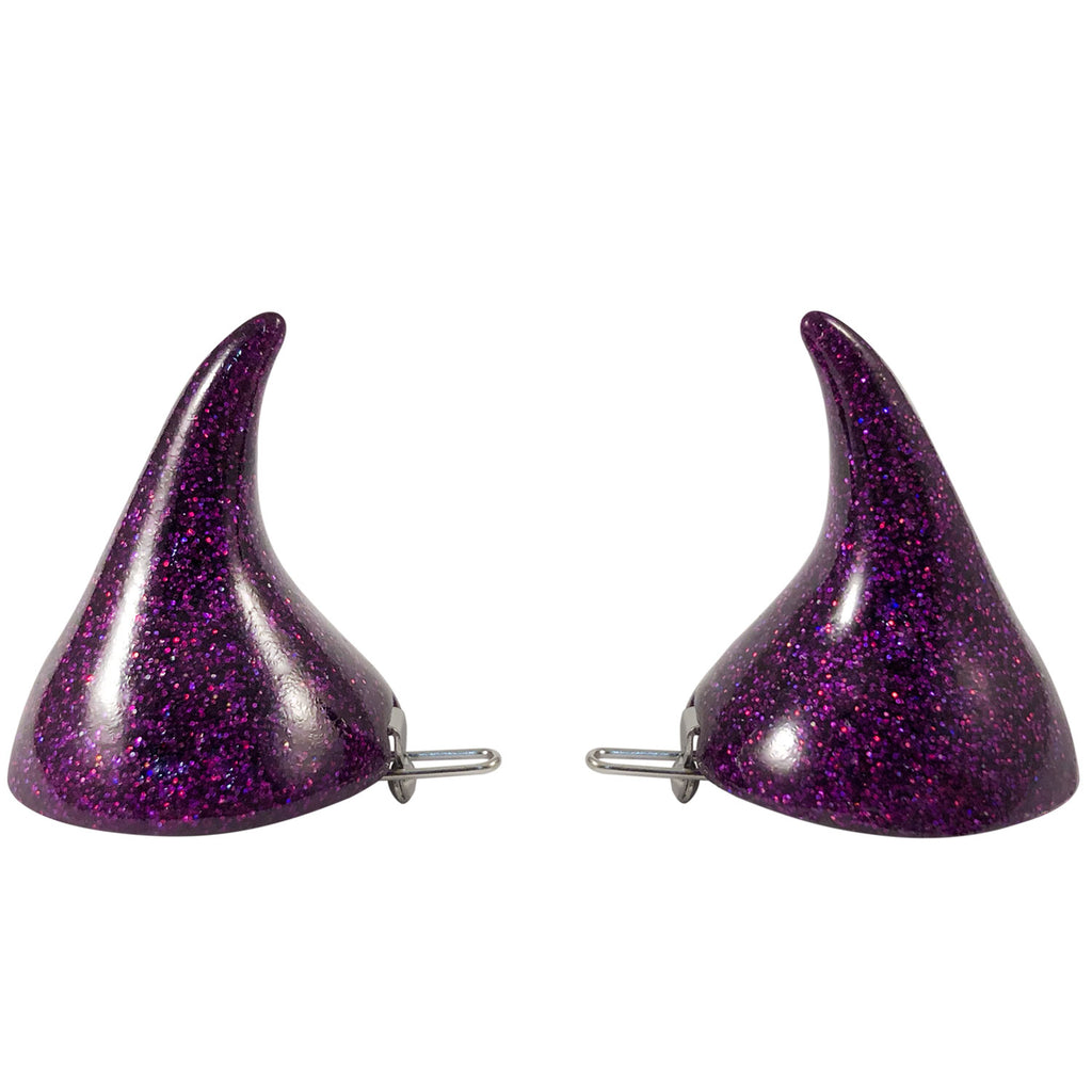 Horror Hair Horns-Purple Glitter