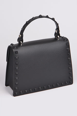 Black Monotone Studded Clutch