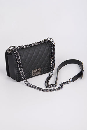 Black Jelly Studded Clutch