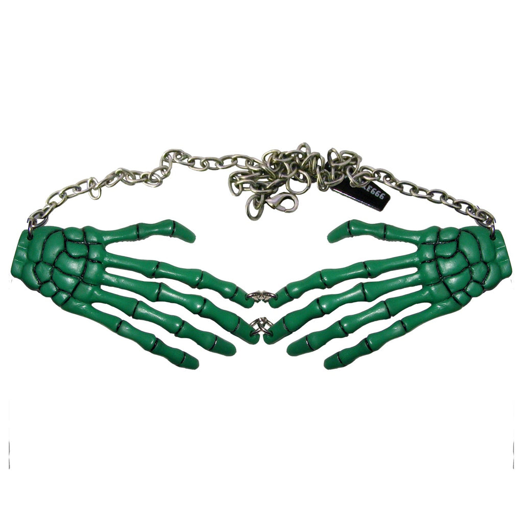 Skeleton Bone Hands Green Necklace