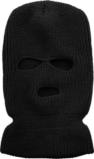 Three Hole Black Knit Mask