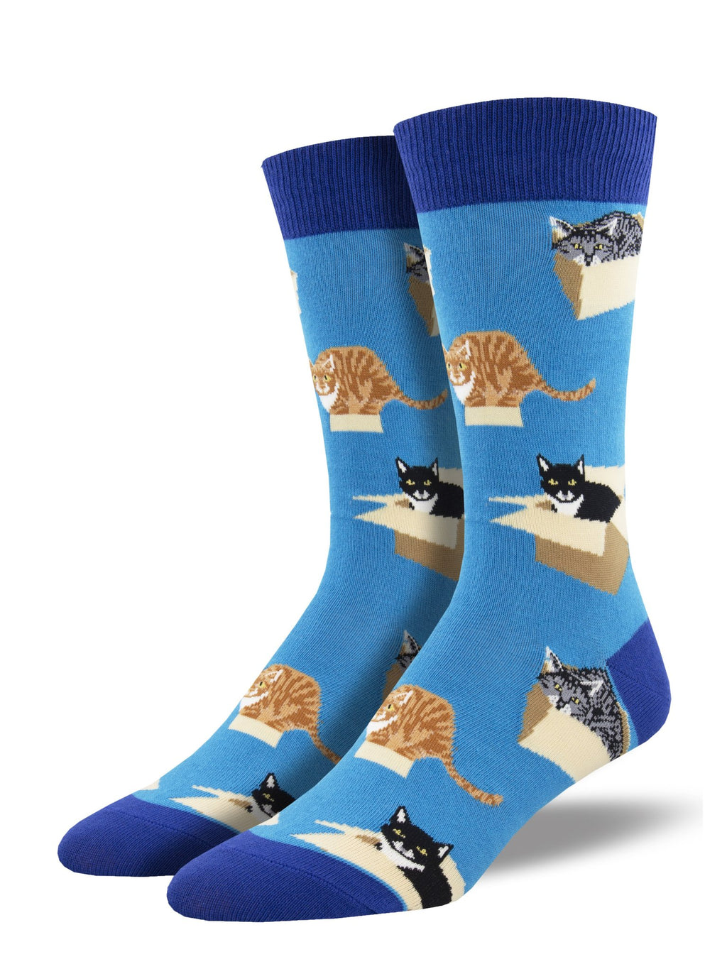 Cat in A Box Blue Men's Socks