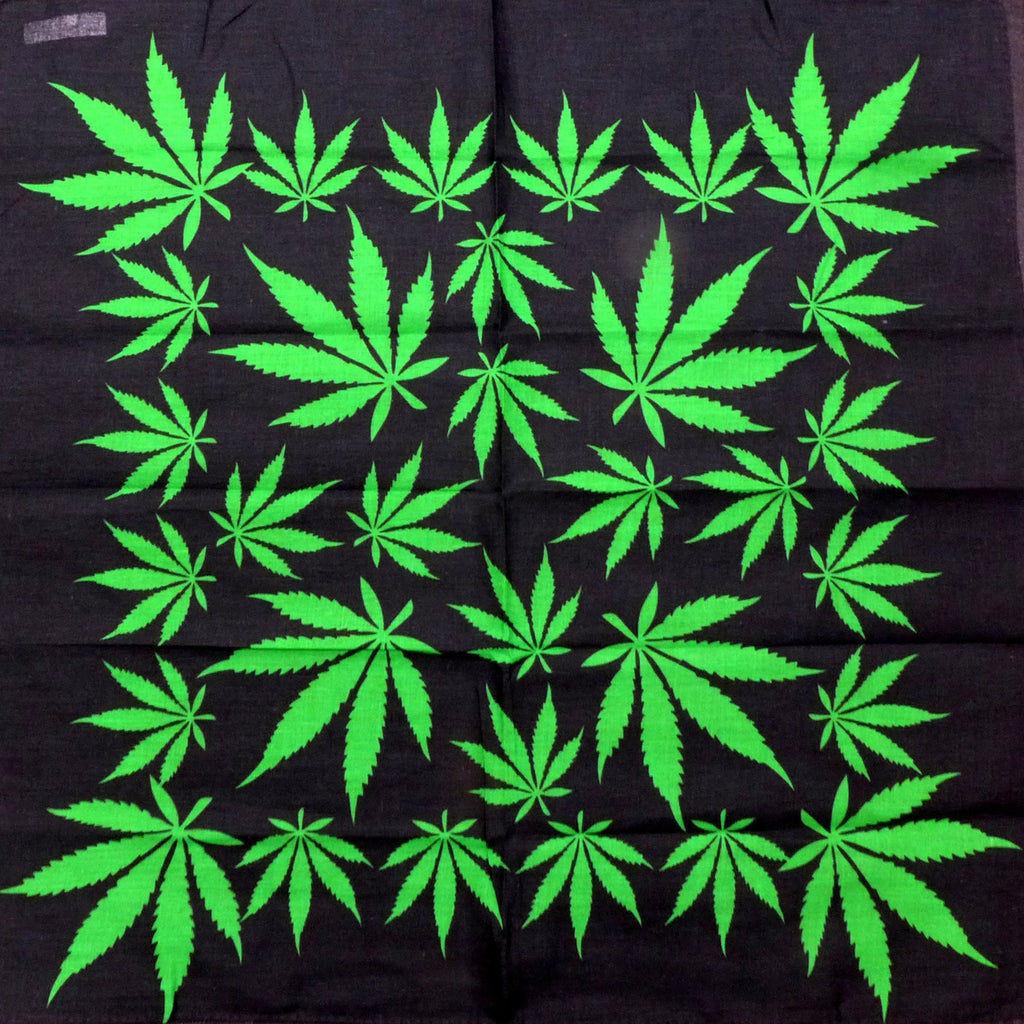 Weed All Over Black Square Bandana