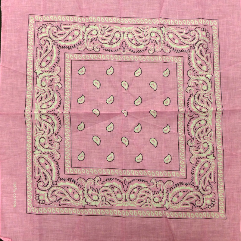Pink (light) Paisley Square Bandana