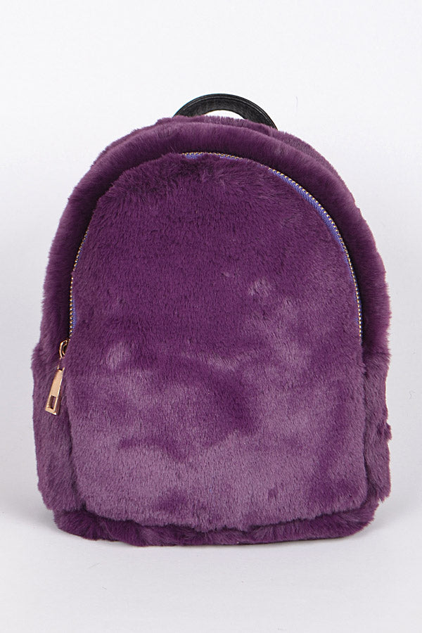 Violet Glam Faux Fur Backpack