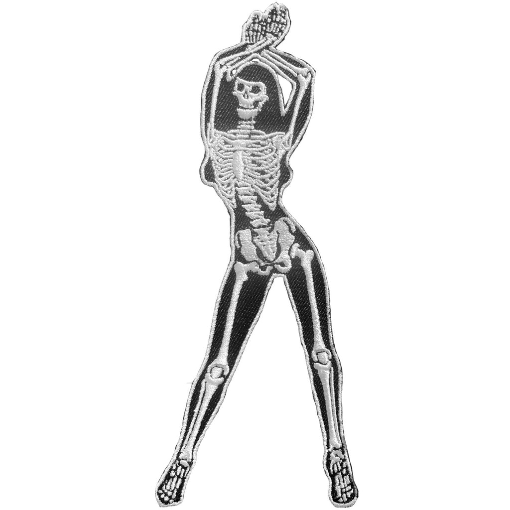 Skelli Girl Arms Up B/W Patch