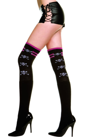 Black/Pink Thigh Hi Skulls with Stripe