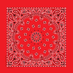 Red Traditional Paisley Square Bandana