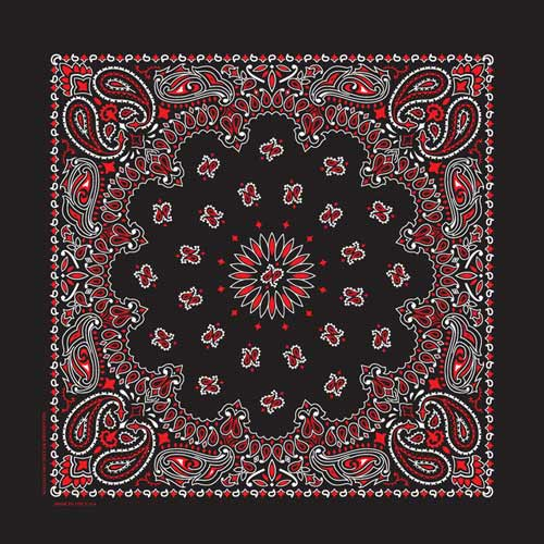 Black and Red Traditional Paisley Square Bandana
