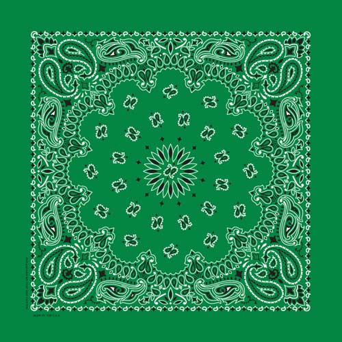 Kelly Green Traditional Paisley Square Bandana