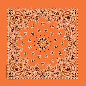 Orange Traditional Paisley Square Bandana