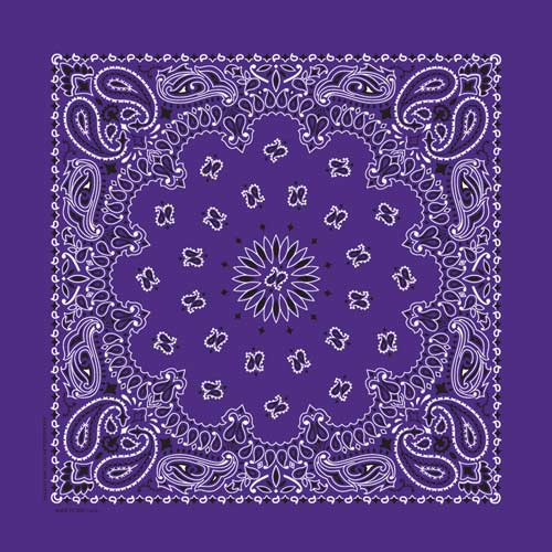 Purple Paisley Square Bandana