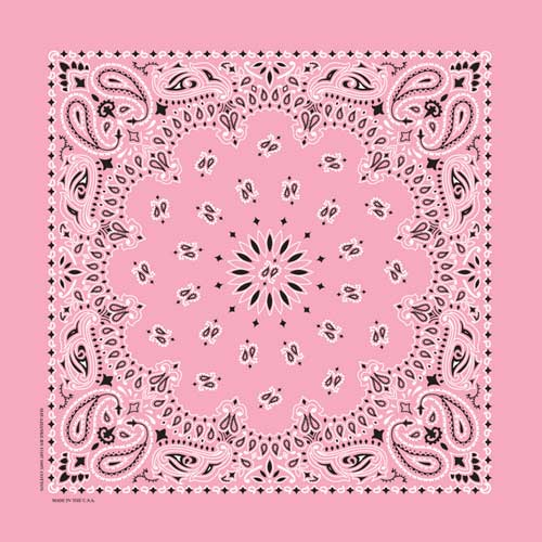 Light Pink Traditional Paisley Square Bandana