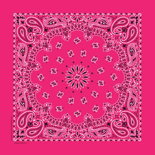 Hot Pink Traditional Paisley Square Bandana