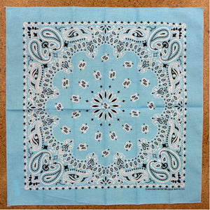 Light Blue Paisley Square Bandana