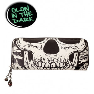 Black Skull Face Glow in the Dark Wallet