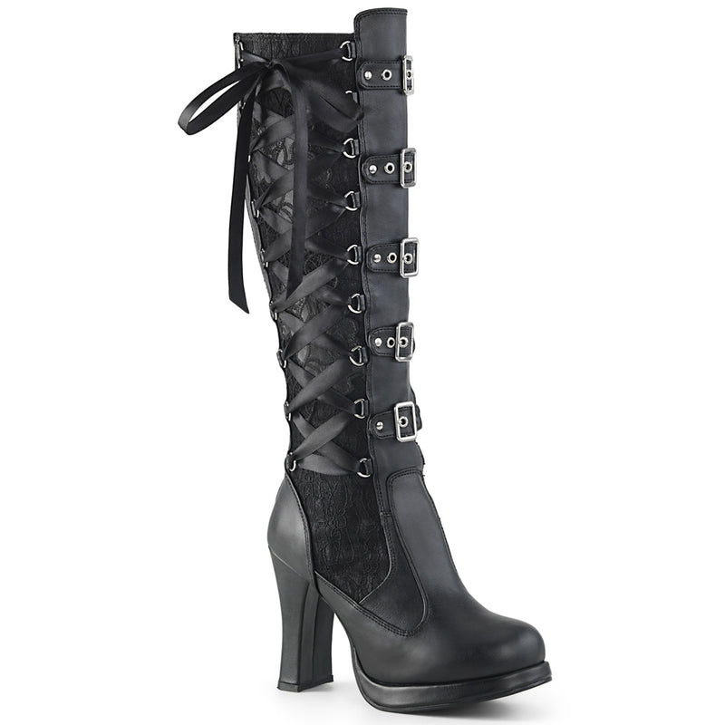 Crypto-106 Black Knee Hi Corset Boot