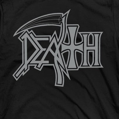 Death New Logo Silver on Black