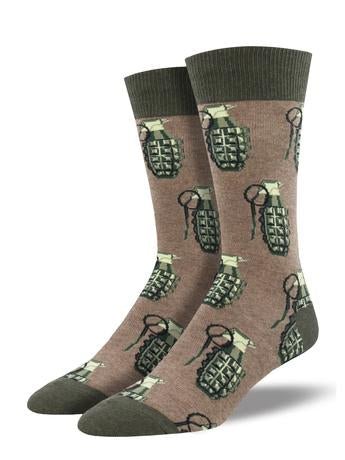 Put A Pin In It Brown Heather Men's Socks